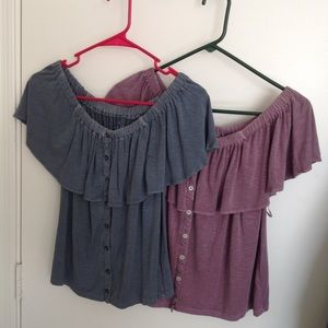 Two off the shoulder tops in new condition